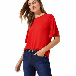 LOFT Lacey Flutter Mixed Media Top in Red